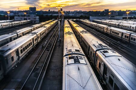 Sunset in the railway Foto de archivo