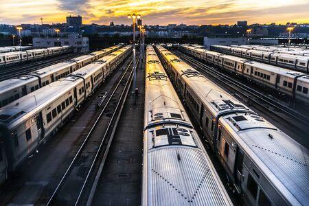 Sunset in the railway Stock Photo