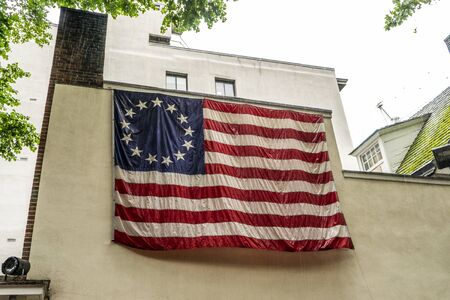The first American flag on a building