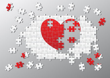 Broken heart made of jigsaw pieces Vector