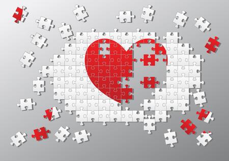 Broken heart made of jigsaw pieces Vector