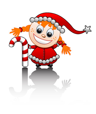 Vector illustration of a little Santas helper cute red-haired girl