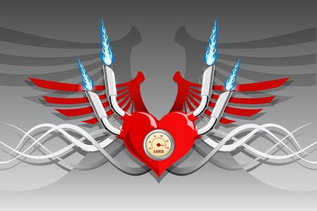 Vector retro motor heart on a silver background Stock Vector - 2338185