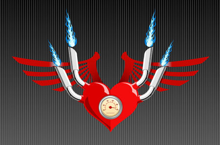 Vector illustration of a heart with wings and flames Vector