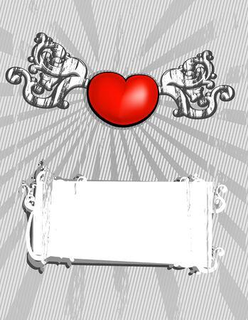 Vector monochrome valentine's card Stock Vector - 2338187