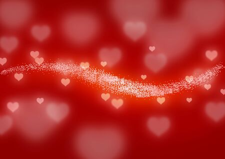 Valentine wallpaper with line of glowing hearts photo