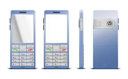 Vector photorealistic  illustration of a cellphone, 3 sides, blue color Vector