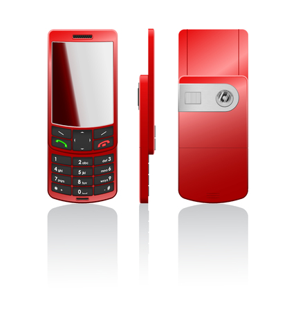 cordless phone: Vector photorealistic illustration of a red cellphone-slider, open Illustration
