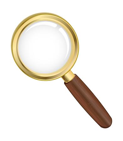 search icon: Vector illustratie van een gouden zoek pictogram