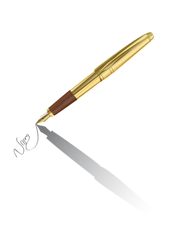 signing: Vector realistic gold pen signing contract