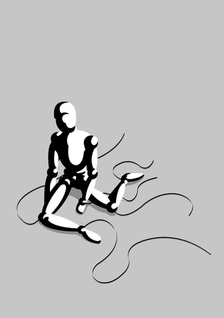 theater man: Vector illustration of a lonely puppet on gray background Illustration