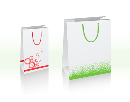 Illustration of two vector bags, white with copy-space