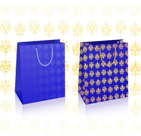 Vector illustration of two bags, blue and gold with copy-space Vector