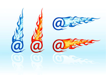 Set of vector colored fire e-mails Stock Vector - 2546056