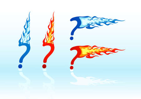 Set of vector colored fire question marks Stock Vector - 2564736