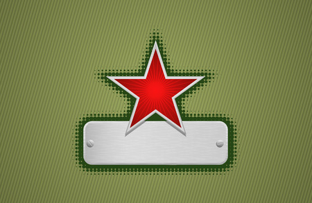 bordo: Vector illustration of a green frame with red star and metal copy-space #1 Illustration