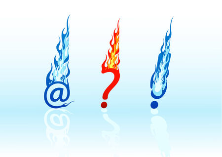 Set of vector colored fire question marks, exclamation marks, and e-mails Vector