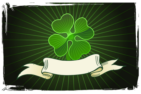 irish culture: Vector illustration of a clover with banner on dark background