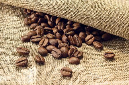 Coffee beans on light canvas Stock Photo - 2640304