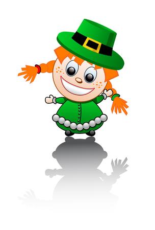 leprechaun girl: Vector illustration of a girl dressed in green