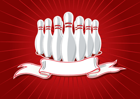 Vector illustration of 9 pins with banner on red Vector