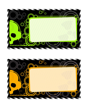 Vector industrial frames with orange and green skull  Vector
