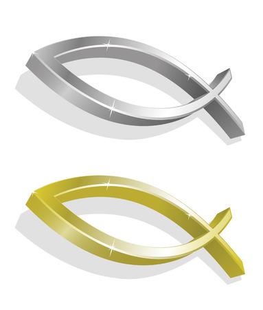 Vector illustration of golden and silver icthus Vector