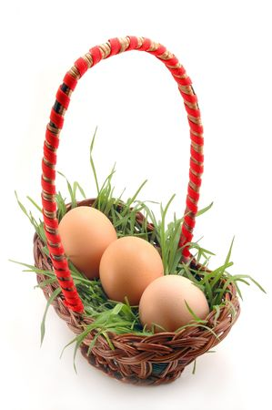 Basket with grass and eggs photo