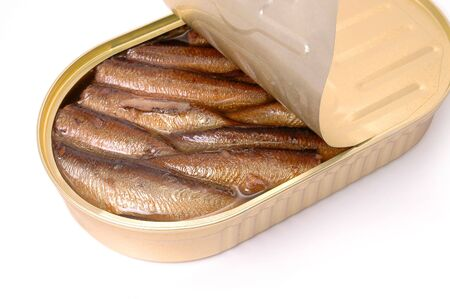 sprats: Close-up of open sprats can isolated on white background Stock Photo