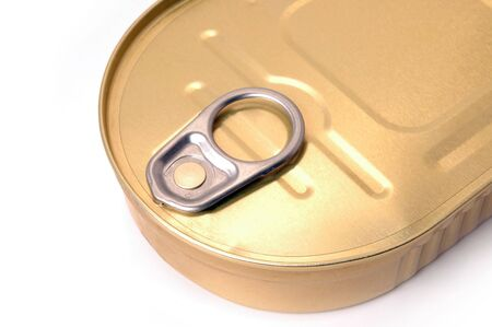 Close-up of closed can isolated on white background photo