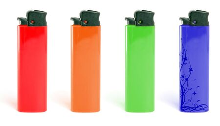 Red lighter isolated on white background.  photo