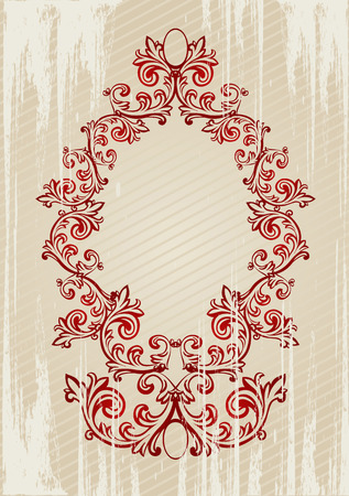 Red and beige vector illustration of an abstract floral frame Vector