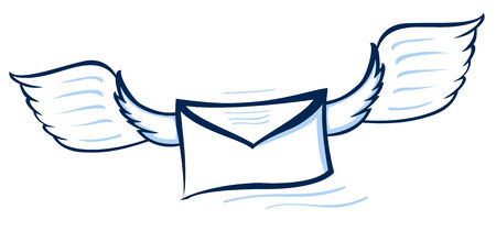 Vector illustration of a blue abstract envelope with wings Vector