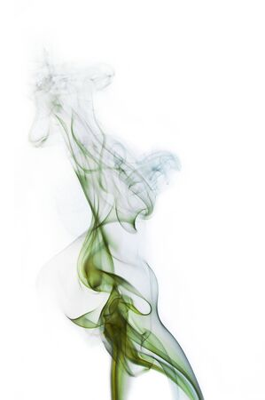 Green and blue cigarette smoke on white background photo
