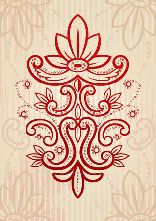 Beige and red vector illustration of an abstract floral frame Stock Vector - 2897480