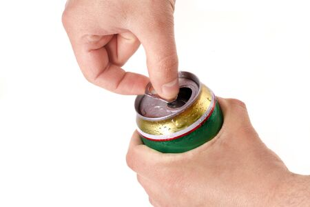 Man's hand opening aluminum beer can, isolated on white background Stock Photo