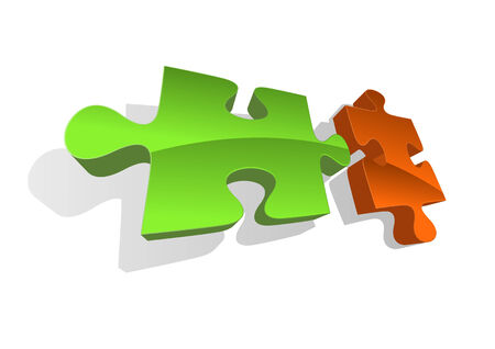 Vector illustration of two abstract puzzle pieces Vector