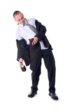 Drunk businessman shocked by empty wallet isolated on white background photo