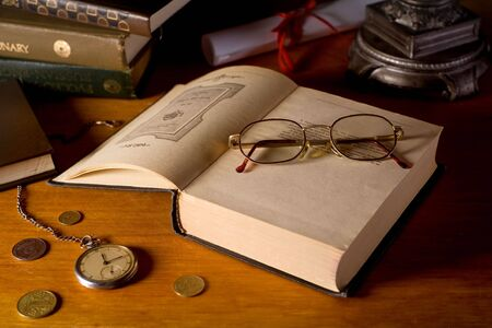 stilllife: Still-life with books, glasses, and watches