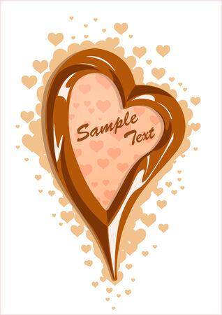 Vector illustration of milk chocolate heart frame Vector