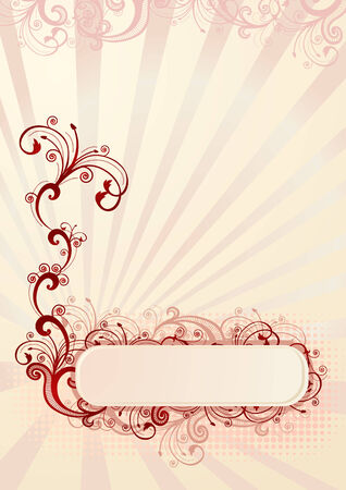 Vector illustration of an absract floral frame for greeting card Vector