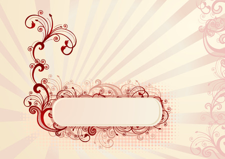 Vector illustration of horizontal floral frame for greeting card Vector