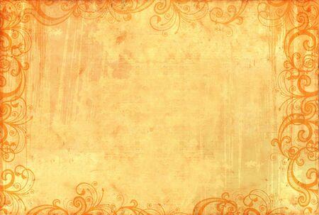 antiquary: Vieja textura de papel tapiz con motivos florales y salpicaduras de tinta  Foto de archivo