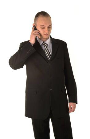 Businessman calling on phone isolated on white background photo