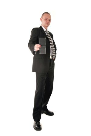 Financial inspector in business outfit showing his documents, isolated on white photo