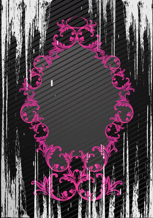 Black and pink vector illustration of an abstract floral frame Stock Vector - 3078674