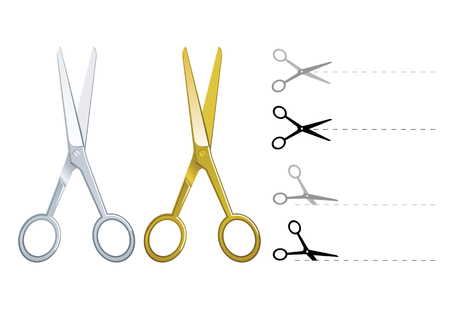 shear: Set of vector silver and gold scissors cutting paper
