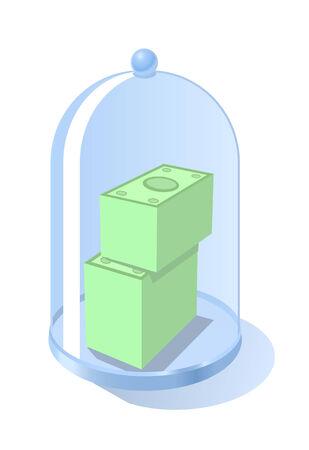 Vector illustration of money under glass Vector