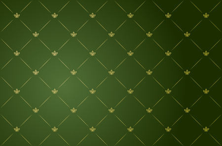 Vector illustration of green and gold vintage wallpaper  Vector