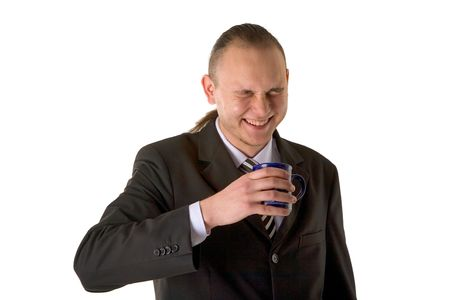 Laughing businessman with cup isolated on white background photo